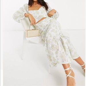 Asos Wrap Midi Dress in Floral Printed Broderie